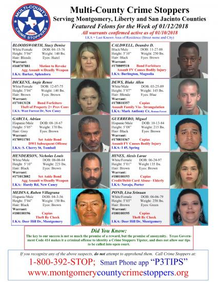 Featured Felons 1/12/18